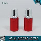 botella de petróleo esencial de aluminio roja de la esencia 30ml del suero de la botella líquida cosmética del cuentagotas