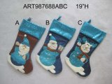 Santa, Snowman and Moose Christmas Stocking, 3 Asst