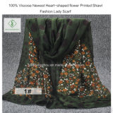 Повелительница напечатанная цветком шали 100% Viscose самым новым Heart-Shaped способа Шарф