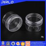 vaso di plastica crema trasparente pieno 30g con il coperchio della vite per crema cosmetica