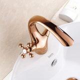 Кран сосуда ванной комнаты золота Flg Rose с твердой латунью
