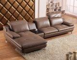 Sofá de couro de grão superior europeu Mobília de sala de estar moderna (HX-SN029)