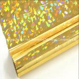 Sellado caliente de la hoja olográfica en el papel o el plástico