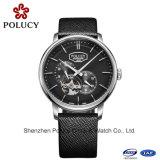 2016 del cuero del diseño de la manera automática hombres de acero inoxidable relojes de pulsera