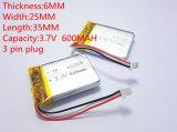 Batterie au lithium de polymère 3.7 V, 600mAh 602535 062535
