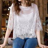 Damen arbeiten reizvoller zweiteiliger Set-Höhlung-Spitze Chiffon- Bluse um