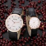 Homme de courroie en cuir d'OEM et montre-bracelet marqués par mode de Madame Coule Quartz