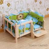 개 만화 집 면 침대 Matts를 가진 목제 애완 동물 침대