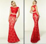 Red Cream Lace Prom Vestido de festas Vestidos Vestido de noite Le1561