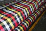 Tessuto tinto 100% della camicia di disegno dell'assegno del filato di poliestere