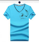 95% Cotton+5%Spandex V Neck Rubber Printing T Shirt für Men