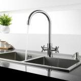 Torneira de água do dissipador de cozinha do giro da alavanca do bronze dois