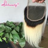 Chiusura brasiliana diritta del merletto dei capelli umani di Ombre di modo