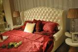 백색 진짜 가죽 침실 가구 가죽 침대