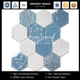 Muren 4 van de badkamers het Glas van het Kristal '' & Tegel van het Mozaïek van Carrara Hexagon