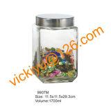 grandes frascos de vidro quadrados do armazenamento do alimento 1300ml~2100ml com tampão do metal