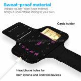 El brazal de los deportes para la huella digital más del iPhone 7 abre y toca efectivo del sensor y la tela de Lycra del estiramiento del diseño de la tira reflexiva del sostenedor del clave del bolsillo de tarjeta Agua-Resiste