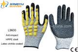 Luvas revestidas nitrilo do trabalho da segurança de Sandy do escudo de Hppe (L9600)