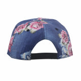 Embroidery (GK15-L0001)に習慣作られるLeatherの縁との花Fabric Snapback Hat