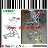 Carrello di acquisto del cestino del carrello di acquisto del metallo con un supporto dei due cestini
