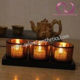 ブラウンの木ベース3PCS/Setが付いている中国のパタングラスの蝋燭ホールダーの蝋燭のコップ