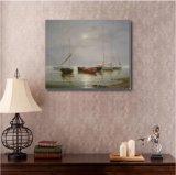 Peinture à l'huile des bateaux sur la mer