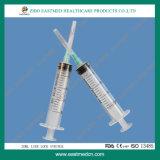 3개 부품 의학 처분할 수 있는 주사통 바늘을%s 가진 처분할 수 있는 Luer 자물쇠 주사통