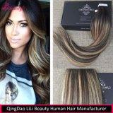 2017 nueva cinta de llegada en el cabello humano recto de Remy de la extensión del pelo humano