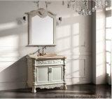 Tradtional festes Holz-Badezimmer-Eitelkeit 2017 mit einzelnem Behälter-Wannen-Fußboden - eingehangene Marmoroberseite Asv1030