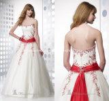 Le rouge Appliques les robes de mariage blanches sans bretelles de robes de boule Z104