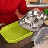 La casella di Bento della casella di pranzo del contenitore di alimento dell'acciaio inossidabile con BPA libera l'azzurro di plastica dello scompartimento delle coperture 5 dei pp