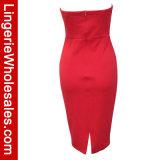 Tiefer-v Stutzen der reizvollen Frauen trägerloses Bodycon Clubwear Minikleid