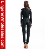 Costume de Catsuit de noir de robe d'usager de Veille de la toussaint des femmes sexy