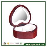 En forma de corazón de almacenamiento de madera caja de joyas con espejo