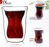 Frauen-Karosserien-Entwurfs-doppel-wandiges Glascup/doppel-wandiges Glastee-Cup/doppel-wandige Glaskaffeetasse/doppel-wandiges Glasthermos-Cup