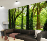 Papel pintado de madera no tejido barato de encargo del paisaje del bosque de la alta calidad de la fábrica de Shangai