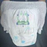 연약한 넓혀진 유연한 허리띠 및 귀여운 만화 디자인 아기 바지