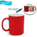 입히는 세라믹 열 과민한 빨간 커피잔