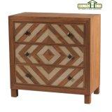 2 cassetto Chevron Nightstand di legno in mobilia di rivestimento del Brown della noce