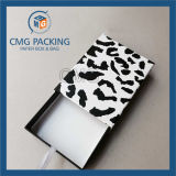 Caixa de cartão dobrada preto com indicador do PVC (CMG-PGB-025)