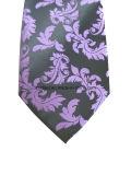 ManのためのペーズリーPatternとの紫色およびBlack Silk Tie