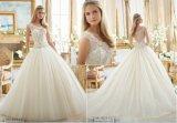Laço nupcial dos grânulos dos vestidos de esfera de Tulle fora do ombro mais o vestido de casamento do tamanho