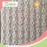 Tela floral do laço do bordado do algodão do teste padrão da cor branca de 140 Cm