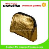 Goldfarbe PU-reizender mini ökonomischer kosmetischer Beutel mit kundenspezifischem Firmenzeichen