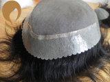 Toupee человеческих волос с Mono основанием и PU вокруг
