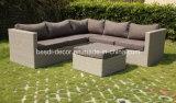 Jogo econômico da sala de estar do sofá de vime ao ar livre do canto da mobília do Rattan do jardim