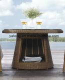 Conjunto de café impermeable al aire libre de los muebles del jardín de la pequeña rota redonda con la silla amontonable (YT121)