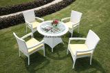 Insieme esterno della Tabella pranzante del fiore della mobilia del giardino del rattan