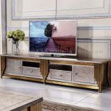 De moderne MDF Tribune van TV met het Gouden Huis die van het Frame van het Staal Meubilair gebruiken