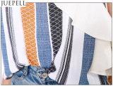Volantmaterial-Hülsen-gestreifte Brücke-trägerlose Oberseite-wilde Frauen-kleine Hemd-Bluse der Frauen-reizvolle tiefe V